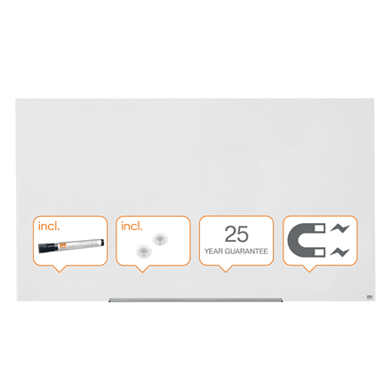 1905191 Magnets and Fitting Kit 993 x 559 mm Magnetic Nobo Diamond Glass Whiteboard with Rounded Corners White Includes Marker
